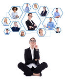 Career and team work concept - business woman dreaming about her Stock Photography