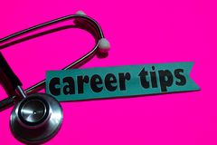 Career Tips on the paper with medicare Concept stock photo