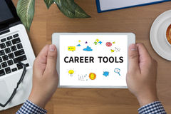 CAREER TOOLS. Man hand Tablet and coffee cup Royalty Free Stock Images