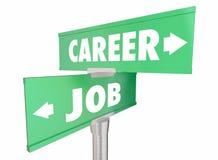 Career Vs Job Work Opportunity Promotion Words Signs stock illustration