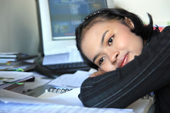 Career woman. Dreaming in office Stock Photography