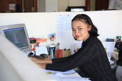 Career woman. Sitting in office Stock Photos