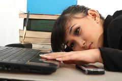 Career woman. Portrait of beautiful career woman holding laptop Royalty Free Stock Photo