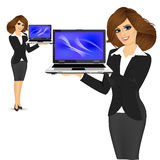 Career woman holding laptop Stock Photography
