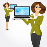 Career woman holding laptop Royalty Free Stock Images