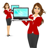 Career woman holding a laptop Stock Photo