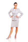 Career woman posing. Full length portrait of cute career woman posing on white Stock Photography