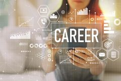 Career with woman using a smartphone stock images