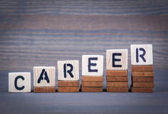 Career from wooden letters. Abstract business and success background stock images