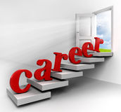 Career word on stair. To conceptual door with vie to sky in white room metaphor for success royalty free illustration