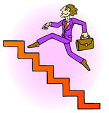 Careerist. Is running up the stairs. Stairway upwards. Vector Illustration Royalty Free Stock Images