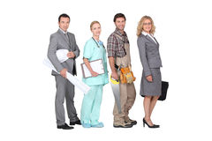 Careers. Four people and their different occupations stock photo