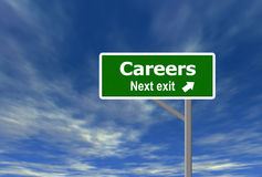 Careers. High quality computer generated road sign and sky background Stock Images