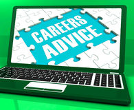 Careers Advice Laptop Shows Employment Guidance And Assistance Royalty Free Stock Photography