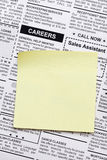 Careers. Fake Classified Ad, newspaper and sticky note Stock Image