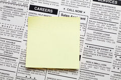 Careers. Fake Classified Ad, newspaper and sticky note Royalty Free Stock Photo