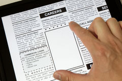 Careers. Fake Classified Ad, newspaper and Touch Screen, business concept Stock Photos
