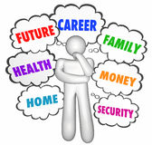 Careers Jobs Thinking Person Thought Clouds Options Stock Photography