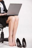 Careerwoman working legs. Careerwoman working tired legs and feet Royalty Free Stock Photos