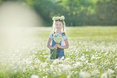 Carefree adorable girl with bouquet in fairy field of chamomile. Summer freedom enjoy concept stock images