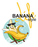 Carefree banana on vacation. Carefree fun banana on vacation Royalty Free Stock Photo