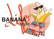 Carefree banana on vacation. Carefree fun banana on vacation in hammam Royalty Free Stock Photos