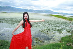 Carefree beauty enjoy free time, healthy living concept, pure happiness and freedom. Asian Chinese woman enjoy free time, beautiful graceful girl, healthy living Royalty Free Stock Photo
