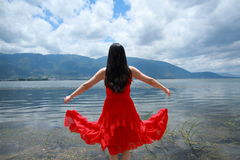 Carefree beauty enjoy free time, healthy living concept, pure happiness and freedom Stock Photos