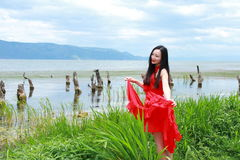 Carefree beauty enjoy free time, healthy living concept, pure happiness and freedom. Asian Chinese woman enjoy free time, beautiful graceful girl, healthy living Royalty Free Stock Photos