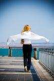 carefree begreppskvinna för tillbaka blond bro Royaltyfria Bilder