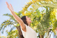 Carefree brunette with arms up Stock Images