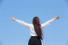 Carefree business woman stock photo
