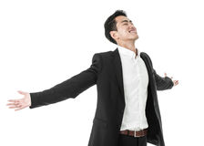The carefree businessman. Businessman in a carefree celebratory mood Stock Photos