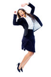 Carefree businesswoman jump Royalty Free Stock Images