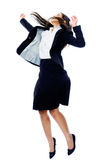 Carefree businesswoman jump Stock Images