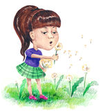 Carefree childhood. Little girl playing with dandelion Stock Photos