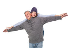 Carefree couple in warm clothing Royalty Free Stock Image