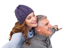 Carefree couple in warm clothing Stock Photo