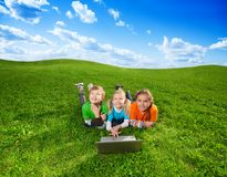Carefree friends in the park Stock Images