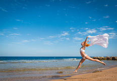 Carefree girl on the beach Stock Image