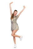 Carefree Girl Dancing On One Leg Stock Photos