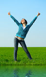 Carefree girl showing thumbs up Royalty Free Stock Images