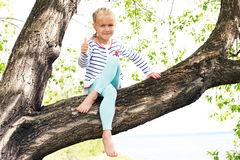 Carefree  girl in spring or summer forest park Royalty Free Stock Photos