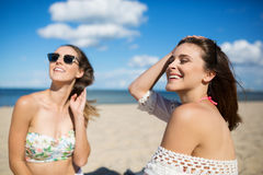 Carefree girls on beach Stock Image