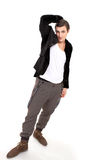 Carefree guy. Carefree young man hanging around a vertical full-length portrait Royalty Free Stock Photography