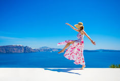 Carefree happy woman enjoying life in summer. Carefree and happy woman enjoying life in summer royalty free stock photo