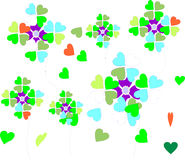 Carefree hearts and flowers in spring colors. A carefree illustration for spring with hearts and flowers on a white background Stock Photo