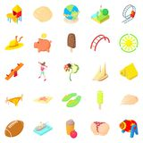 Carefree icons set, cartoon style. Carefree icons set. Cartoon set of 25 carefree vector icons for web isolated on white background Stock Image
