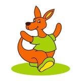 Carefree kangaroo logo. Kangaroo in clothes sign Isolated on white background Royalty Free Stock Photo