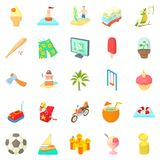 Carefree life icons set, cartoon style. Carefree life icons set. Cartoon set of 25 carefree life vector icons for web isolated on white background Royalty Free Stock Photos